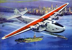 ATLANTIC CLIPPER — EUROPE BOUND!       Pan Am Boeing 314  - Thompson Products, 1938 - Charles H. Hubbell - via Plan59