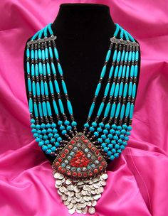 Nepalese Stone and Coins Necklace