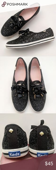 Kate Spade x Keds Champion Glitter Black glitter Kate Spade Keds. Satin shoelaces. Dark mark inside heel from a stick on heel cushion pad. Size 8. No box or extra shoelaces. kate spade Shoes