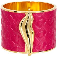 Diane von Furstenberg Frankie Leather Wide Hinge Bangle ($79) ❤ liked on Polyvore featuring jewelry, bracelets, fuchsia, wide bangle bracelet, lip jewellery, bangle bracelet, leather bangles and diane von furstenberg
