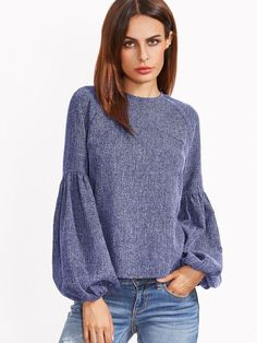 Online shopping for Lantern Sleeve Keyhole Back Top from a great selection of women's fashion clothing & more at MakeMeChic.COM.