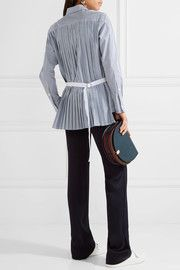 Sacai Pleated striped cotton-poplin shirt