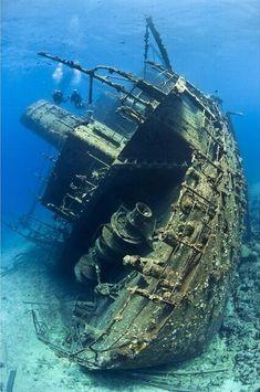 Scuba divers photo. Underwater shipwreck
