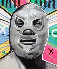 Art, Mexico, Lucha libre, El Santo by Paola Gonzalez, mexican art, mexican icon