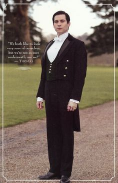 We both like to look very sure of ourselves, but we're not so sure underneath, are we? Downton Abbey Thomas, Downton Abbey Season 1, Tv Actors, Actors & Actresses, Rob James Collier, Lady Sybil, Dowager Countess, About Time Movie, Period Dramas