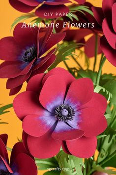 Learn how to make DIY paper anemone flowers easily. Use a cutting machine or print the templates and cut them manually. #paperflowertemplates #paperflowersvg #paperbouquet #paperanemone #ogcrafts #cricutflowers How To Make Paper Flowers, Paper Flowers Wedding, Tissue Paper Flowers, Paper Bouquet Diy, Diy Paper, Flower Video, Anemone Flower, Paper Flower Tutorial, Paper Crafts For Kids