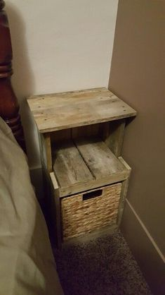 Night stand made from pallet wood.