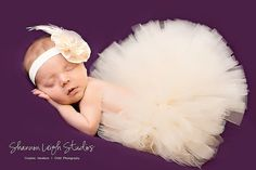 tutu and matching headband for babies first photo. its happening :)