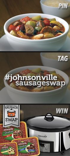 Pin a chili recipe, tag with #JohnsonvilleSausageSwap, then, register at www.johnsonville.com/chilisausageswap for a chance to #win one of 20 Crock-Pot slow cookers and Johnsonville Italian Sausage! #contest