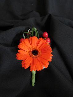 orange gerbera daisy boutonniere