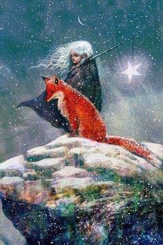 Sebastian McKinnon — Snow-haired Star Child with Fox. Illustration from Story 'Courage, My Love' by Liam McKinnon, 2015 Art And Illustration, Landscape Illustration, Fantasy Kunst, Fantasy Art, Art Fox, Photo D Art, Whimsical Art, Illustrators, Fairy Tales