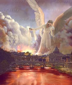 """Rev Rivers of Blood: And the third poured out his bowl into the rivers and the springs of the waters, and they became blood. SEE MORE click """"visit"""" Christian Posters, Christian Art, Revelation 16, Heaven Art, Total Image, Angel Artwork, Angels Among Us, Angel Pictures, Fantasy Landscape"""