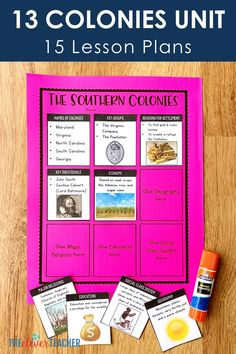 This 3 week 13 Colonies history unit is packed full of fun interactive lesson and activities! These lessons and projects are especially great for kids in grade, grade, grade, and grade. Save yourself a ton of prep time and check it out today! 7th Grade Social Studies, Social Studies Projects, Teaching Social Studies, Student Teaching, 7th Grade Classroom, Classroom Ideas, Middle School Us History, History Class, Teaching Us History