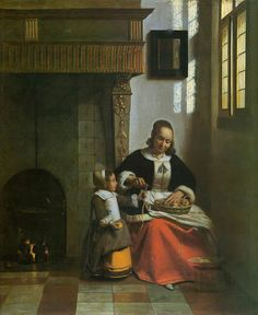 """A Woman Peeling Apples"" Pieter de Hooch [Dutch Golden Age, Baroque Era… Pieter De Hooch, Baroque Painting, Dutch Golden Age, European Paintings, Dutch Painters, Dutch Artists, Realism Art, Light Painting, Ferdinand"