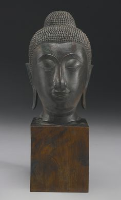 A COPPER ALLOY HEAD OF BUDDHA<br /> Thailand, Ayutthaya period, 16th/17th Century | Lot | Sotheby's