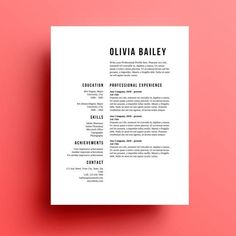 Graphics / Labels / Typography The Olivia resume template and cover letter is available for instant download as a .docx file to edit in Microsoft Word. Make as many changes