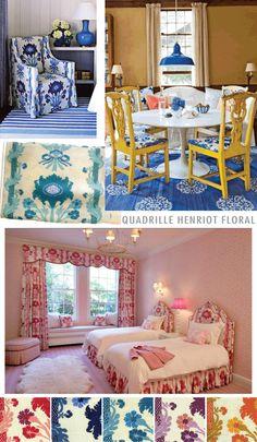 Quadrille Henroit Floral. Love the blue.