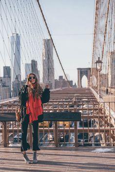 Brooklyn Bridge New York City on THELFASHION.COM   Wearing Glitter Boots, Skinny Jeans & oversized Bomber Jacket