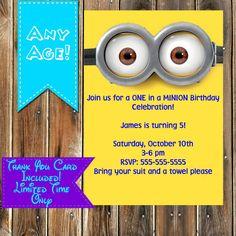 Minions Birthday Invitation & thank you by MyPrintablePartyLine
