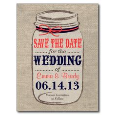 Rustic Coral & Navy Mason Jar Save the Date Postcard
