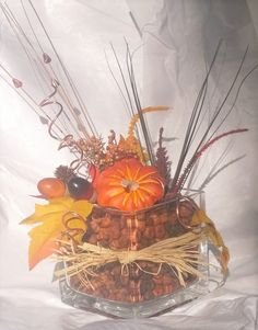 Autumn Leaf and Pumpkin Glass Cube by FantasyFloralsbyKay on Etsy Glass Cube, Potpourri, Autumn Leaves, Floral Arrangements, Fall Decor, Pumpkin, The Incredibles, How To Make, Etsy