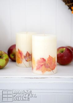 DIY candle with real fall leaves
