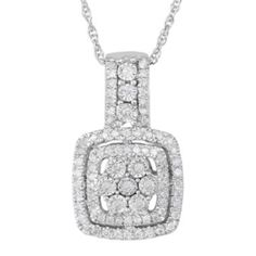 TruMiracle® 1/3 CT. T.W. Diamond Sterling Silver Square Pendant Necklace  found at @JCPenney