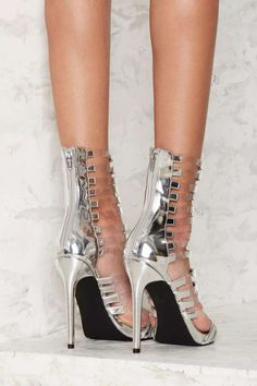Nasty Gal Fit to Kill Strappy Heel - Silver Metallic - Heels   Sale: Newly Added   Heels   All Party