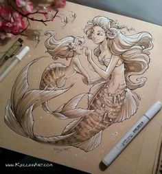 Mother and Daughter Mermaids by KelleeArt on DeviantArt Mermaid tattoo Mermaid Drawings, Mermaid Tattoos, Art Drawings, Pencil Drawings, Mermaid Sketch, Seahorse Tattoo, Mermaid Artwork, Mermaids And Mermen, Merfolk