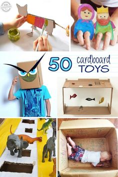 Here's 50 Things to make with a cardboard box! Kids will love these crafts and ideas. I love the cardboard toys. A great way to recycle all that cardboard. Craft Activities For Kids, Toddler Activities, Projects For Kids, Diy For Kids, Kids Fun, Craft Projects, Cardboard Toys, Cardboard Crafts Kids, Cardboard Castle