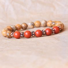 Wrist Mala Bracelet, Yoga Bracelet, Prayer Beads, Picture & Red Jasper For Comfort, Deepening Meditation Practice, Detox
