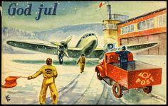 Julekort DYHAUG, KJELL. Flott kort med Postbil og -fly, lagd som julekort Utg Damm. Postg. 1947