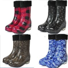 New women lady waterproof Non-Slip Rubber flats rubber rainboots girl leopard print grid rain boots botas de agua shoes two way