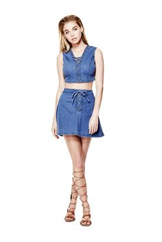Shalay Push-Up Laced Denim Miniskirt | GUESS.com