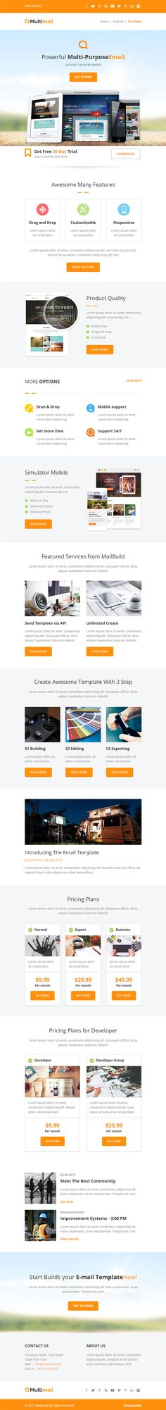 Multimail is Premium full Responsive HTML5 #EmailTemplate. Drag and Drop. #Mailchimp. Unlimited Colors. WYSIWYG editor. Test free demo at: http://www.responsivemiracle.com/multimail-premium-responsive-email-set-mailbuild-online/