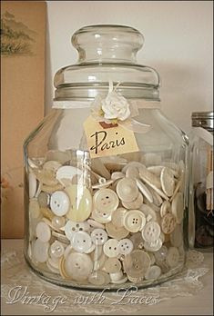 Shabby Chic Studio Ideas Button Jar via Vintage with Laces is part of Vintage buttons - Button Art, Button Crafts, Shabby Chic Interiors, Shabby Chic Decor, Bottles And Jars, Glass Jars, Blanc Shabby Chic, Vintage Accessoires, Vintage Sewing Notions