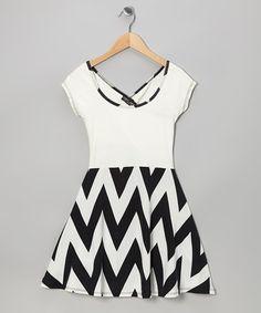 Another great find on #zulily! Black & White Zigzag Dress #zulilyfinds