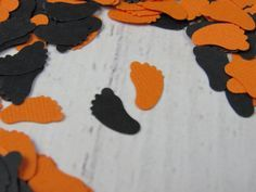 1000 Halloween Baby Shower   Fall Baby Decor   Orange And Black Baby Feet  Confetti   Orange Baby Shower