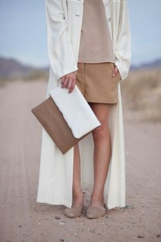 white tan color blocked panel vinyl slouchy clutch on Etsy, $48.00