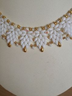 Cool Summer White SuperDuo Necklace by TwinklingGems on Etsy