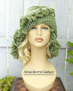 Sage Green Crochet Hat Womens Hat African Beanie African Hat Light Sage Green Hat LOOPY Crochet Beanie Hat for Women Winter Hat by strawberrycouture by #strawberrycouture on #Etsy