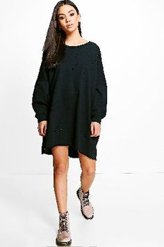 #boohoo Distressed Long Sleeve Sweat Dress - dove DZZ61441 #Vicky Distressed Long Sleeve Sweat Dress - dove
