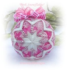 Pink Christmas Ornament Quilted Snowflakes by OrnamentBoutique, $22.00