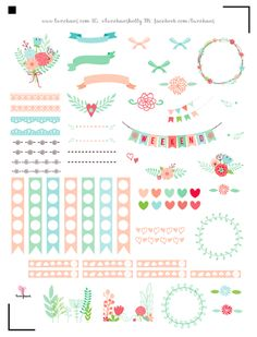 FREE printable floral planner stickers | pastel love
