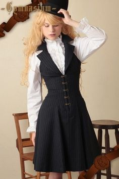 Navy blue Victorian inspired dress-vest. / womens apparel - Juxtapost