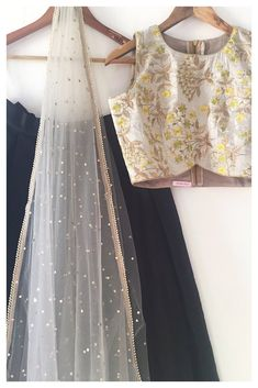 The Dhaani Noir Lehenga Set - The Peach Project By Ayesha Indian Look, Indian Ethnic, Indian Style, Indian Attire, Indian Wear, Ethnic Fashion, Indian Fashion, Womens Fashion, Indian Dresses