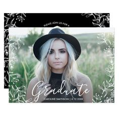Pretty Floral Graduation Party Graduate Photo Card Celebrate your grad with this trendy yet beautiful graduation announcement/invitation featuring a photo on the front framed by a white hand drawn floral border. The backside features your party details surrounded by the same border and your custom text. #ad