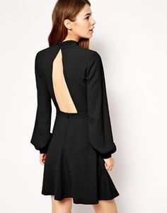 ASOS High Neck Skater With Cut Out Back