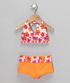 Take a look at this Orange Floral Bikini - Toddler by Swimsuit Station on #zulily today!