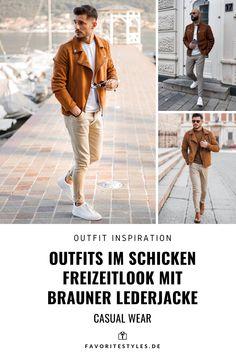 Erfahre welche Teile dazu passen! Casual Wear Outfit für Männer. Outfit mit Jeans- oder Chinohose, Shirt, Lederjacke und Sneaker. Ein schicker Look für die Freizeit, passend für den Frühling und Sommer. Aktuelle Outfits für Männer mit passenden Teilen findest Du bei Favorite Styles. Herrenmode, Outfits aller Marken und Stile. Hole dir jetzt Outfit Ideen für dein Männeroutfit!